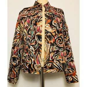 Chico's Lightweight Abstract Pattern Jacket Sz 2